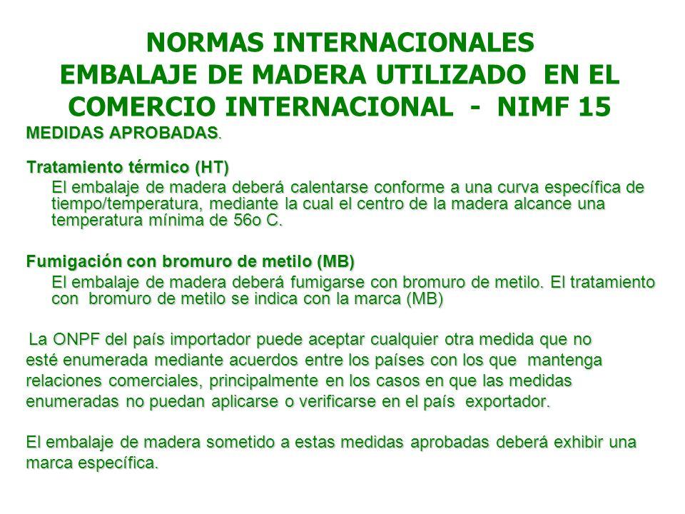 NORMAS INTERNACIONALES EMBALAJE DE MADERA UTILIZADO EN EL COMERCIO INTERNACIONAL - NIMF 15 MEDIDAS APROBADAS. Tratamiento térmico (HT) El embalaje de