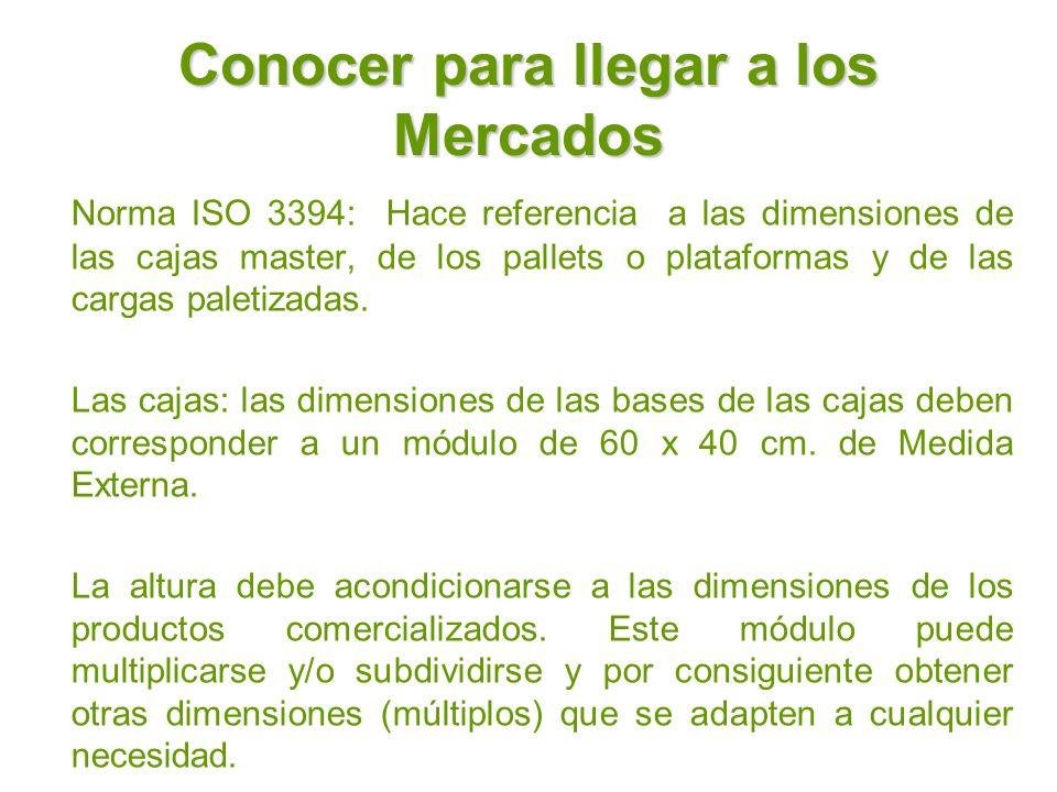 Conocer para llegar a los Mercados Norma ISO 3394: Hace referencia a las dimensiones de las cajas master, de los pallets o plataformas y de las cargas