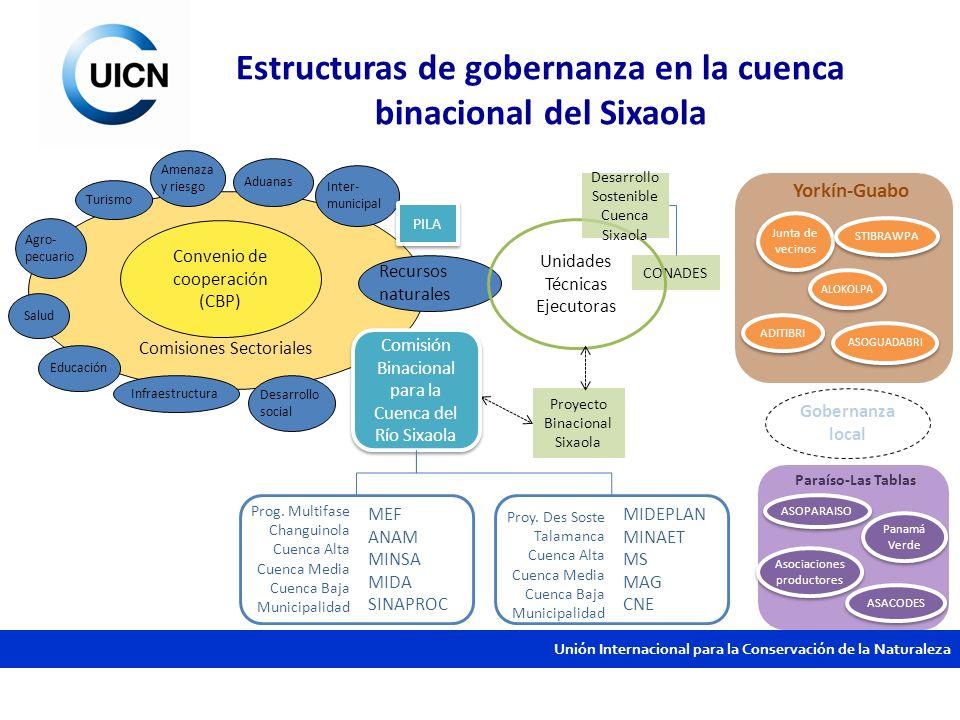 Unión Internacional para la Conservación de la Naturaleza Estructuras de gobernanza en la cuenca binacional del Sixaola Comisiones Sectoriales Conveni