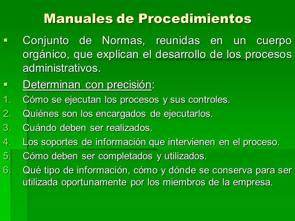 Manuales de Procedimientos Conjunto de Normas, reunidas en un cuerpo orgánico, que explican el desarrollo de los procesos administrativos.