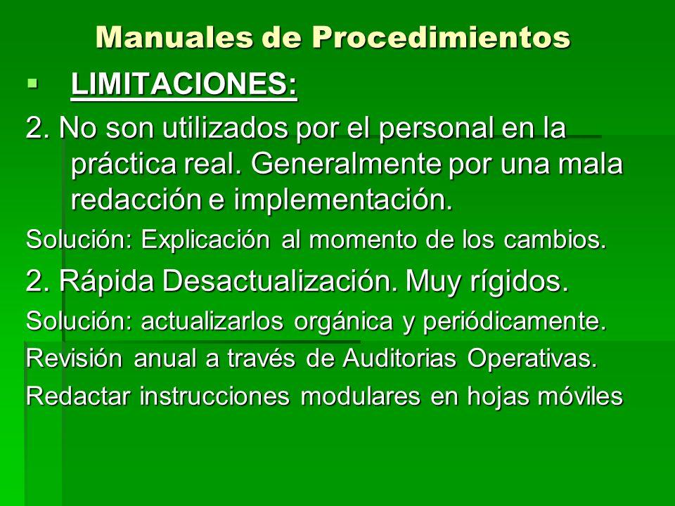 Manuales de Procedimientos LIMITACIONES: LIMITACIONES: 2. No son utilizados por el personal en la práctica real. Generalmente por una mala redacción e