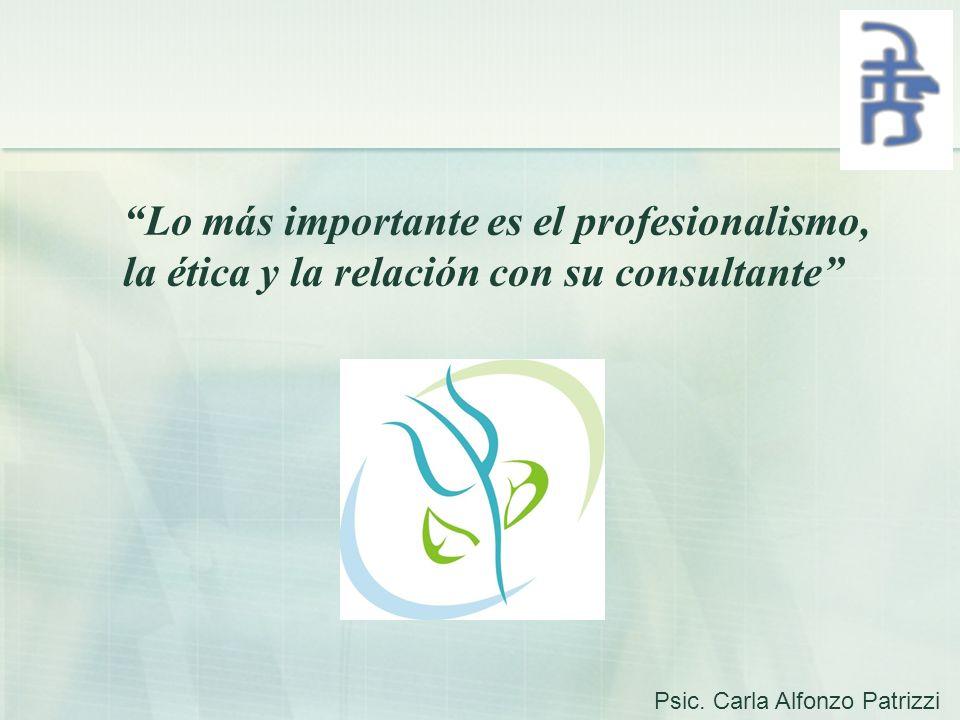Lo más importante es el profesionalismo, la ética y la relación con su consultante Psic. Carla Alfonzo Patrizzi