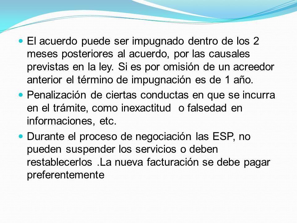 El acuerdo puede ser impugnado dentro de los 2 meses posteriores al acuerdo, por las causales previstas en la ley.