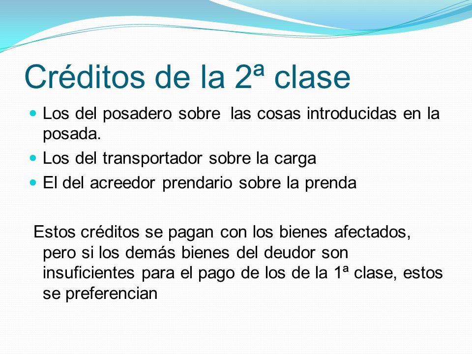 Créditos de la 2ª clase Los del posadero sobre las cosas introducidas en la posada.