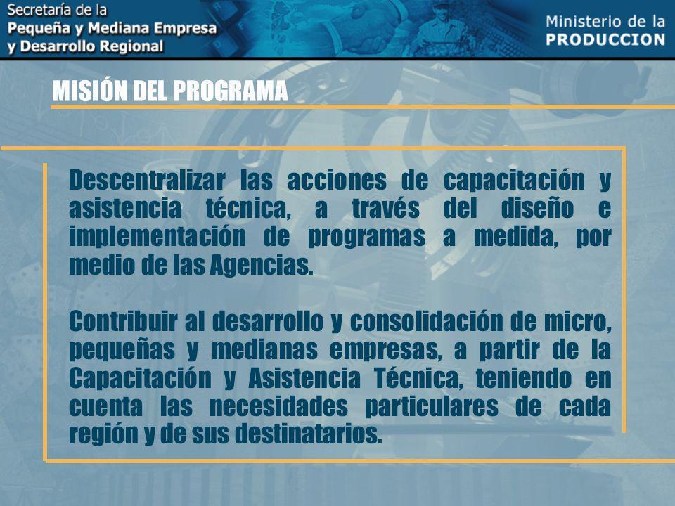 MISIÓN DEL PROGRAMA Descentralizar las acciones de capacitación y asistencia técnica, a través del diseño e implementación de programas a medida, por medio de las Agencias.