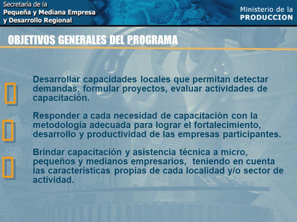 OBJETIVOS GENERALES DEL PROGRAMA Desarrollar capacidades locales que permitan detectar demandas, formular proyectos, evaluar actividades de capacitación.