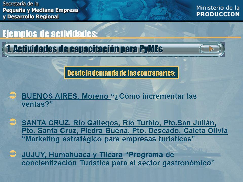 1. Actividades de capacitación para PyMEs Ejemplos de actividades: BUENOS AIRES, Moreno ¿Cómo incrementar las ventas? SANTA CRUZ, Río Gallegos, Río Tu