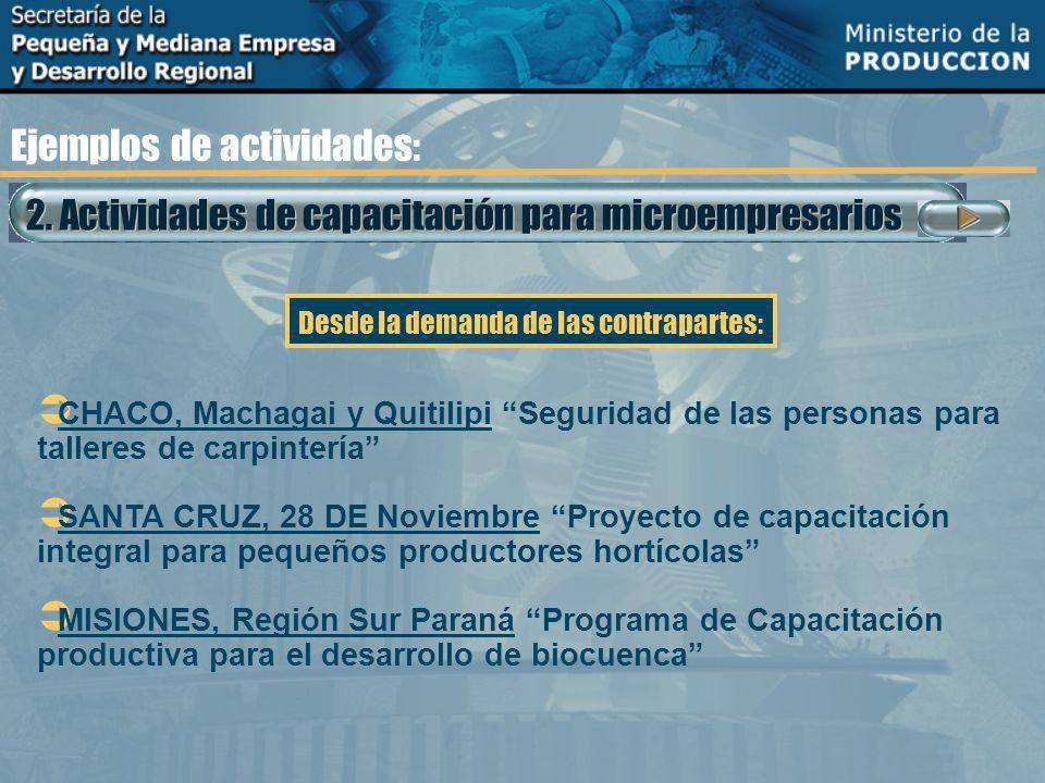2. Actividades de capacitación para microempresarios Ejemplos de actividades: CHACO, Machagai y Quitilipi Seguridad de las personas para talleres de c