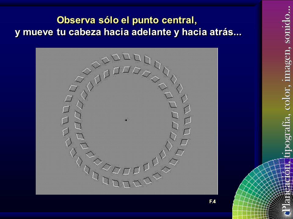 Planeación, tipografía, color, imagen, sonido… Observa sólo el punto central, y mueve tu cabeza hacia adelante y hacia atrás...