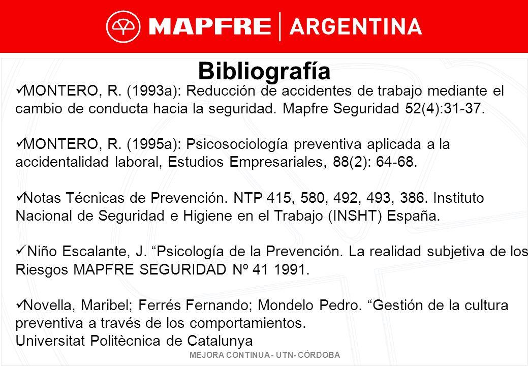 MEJORA CONTINUA - UTN- CÓRDOBA Bibliografía MONTERO, R.