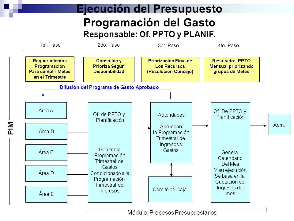Ejecución del Presupuesto Programación del Gasto Responsable: Of. PPTO y PLANIF. Requerimientos Programación Para cumplir Metas en el Trimestre Consol