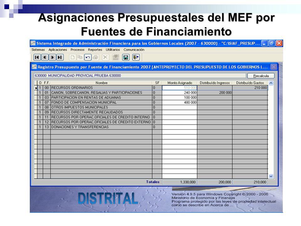 Asignaciones Presupuestales del MEF por Fuentes de Financiamiento