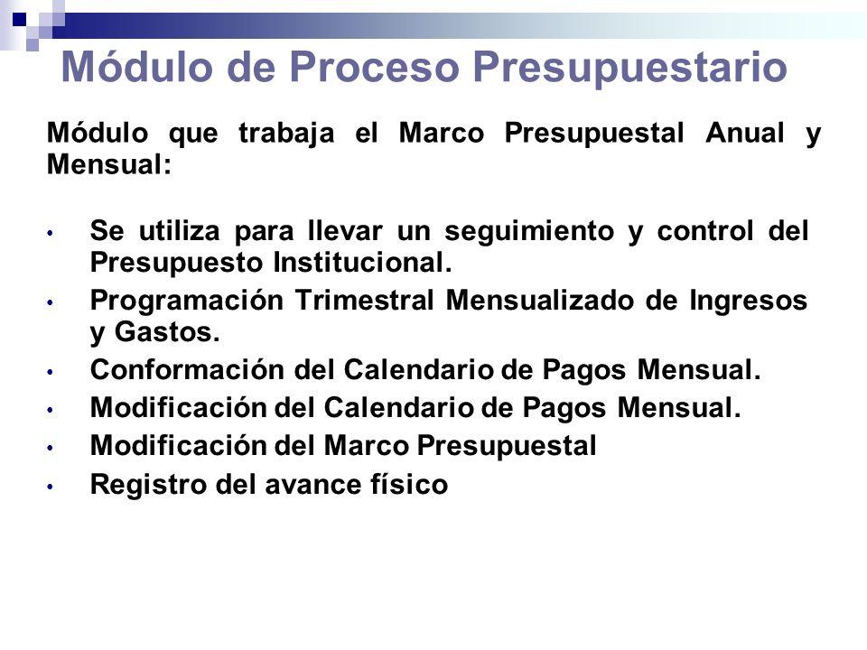 Módulo de Proceso Presupuestario Se utiliza para llevar un seguimiento y control del Presupuesto Institucional. Programación Trimestral Mensualizado d