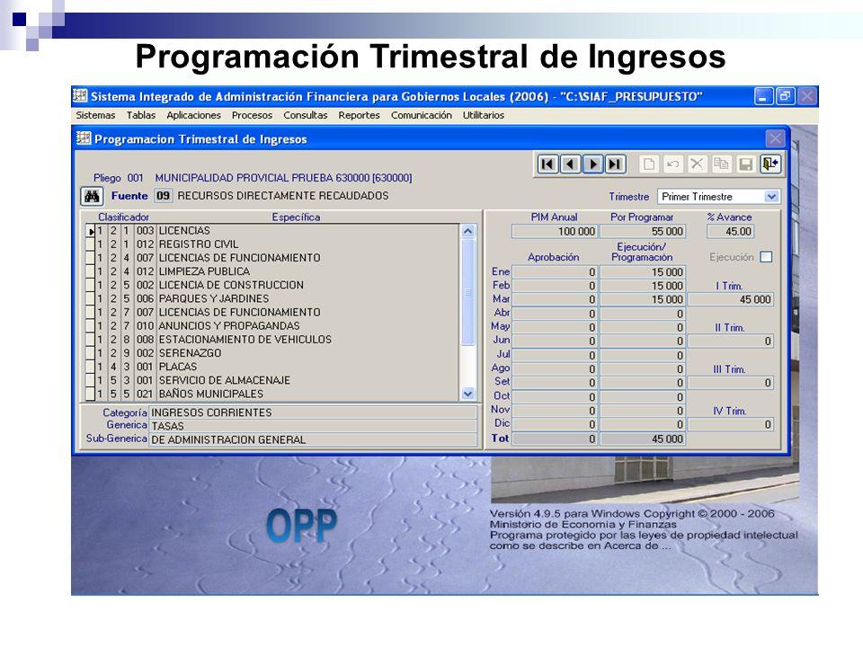 Programación Trimestral de Ingresos