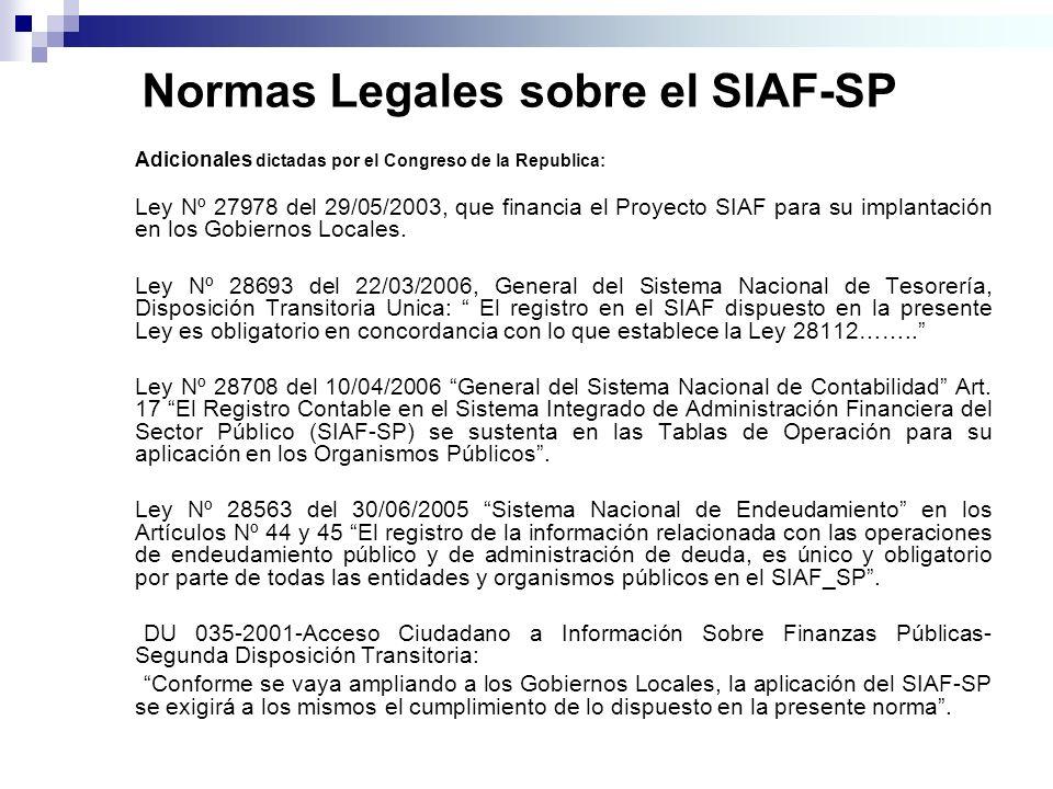 Normas Legales sobre el SIAF-SP Adicionales dictadas por el Congreso de la Republica: Ley Nº 27978 del 29/05/2003, que financia el Proyecto SIAF para