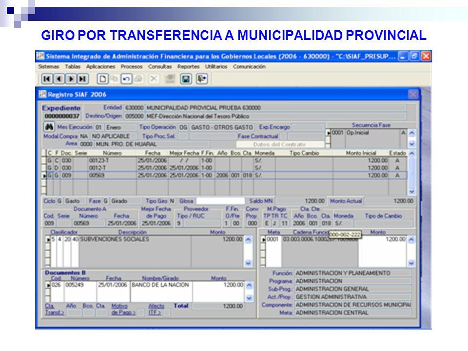 GIRO POR TRANSFERENCIA A MUNICIPALIDAD PROVINCIAL