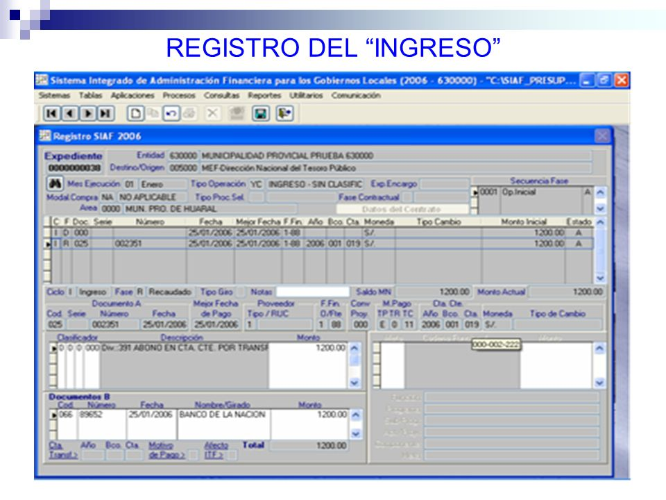REGISTRO DEL INGRESO