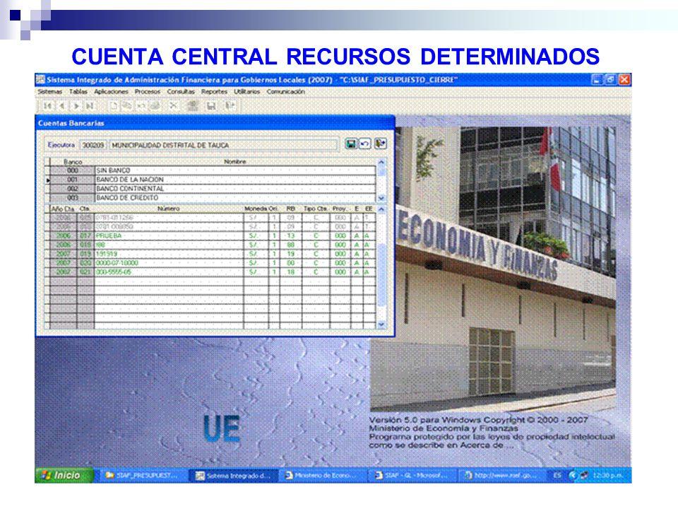 CUENTA CENTRAL RECURSOS DETERMINADOS