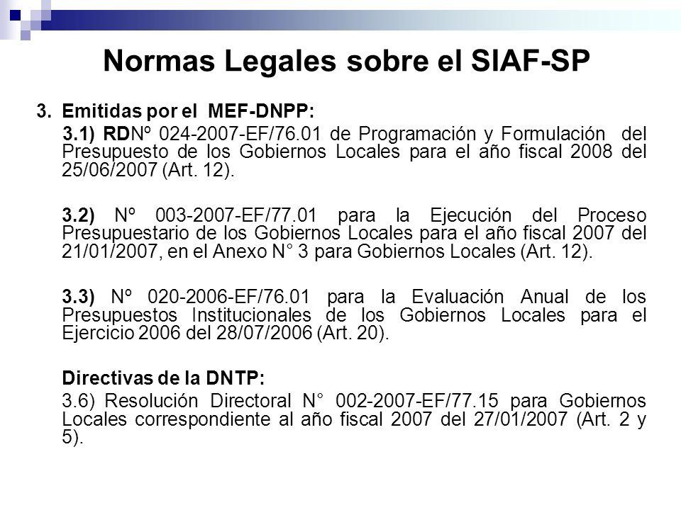 Normas Legales sobre el SIAF-SP 3.Emitidas por el MEF-DNPP: 3.1) RDNº 024-2007-EF/76.01 de Programación y Formulación del Presupuesto de los Gobiernos