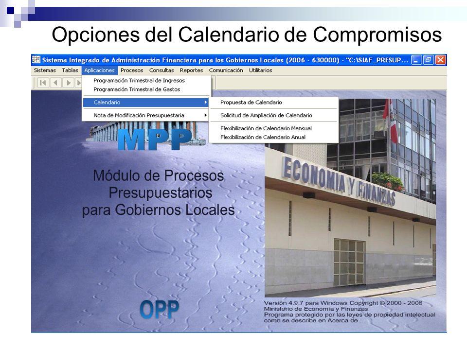 Opciones del Calendario de Compromisos