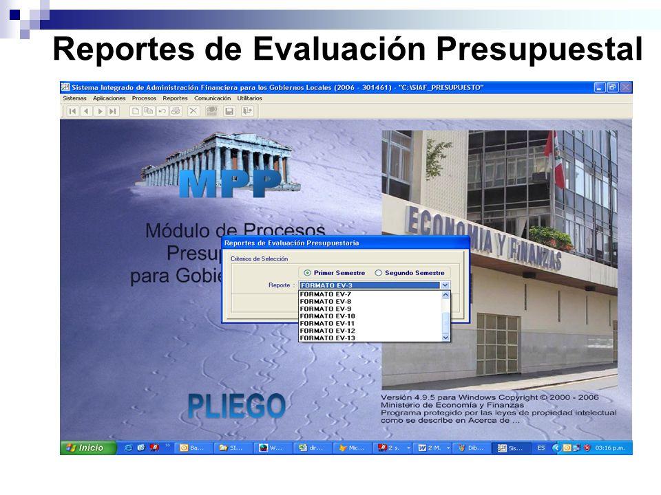 Reportes de Evaluación Presupuestal