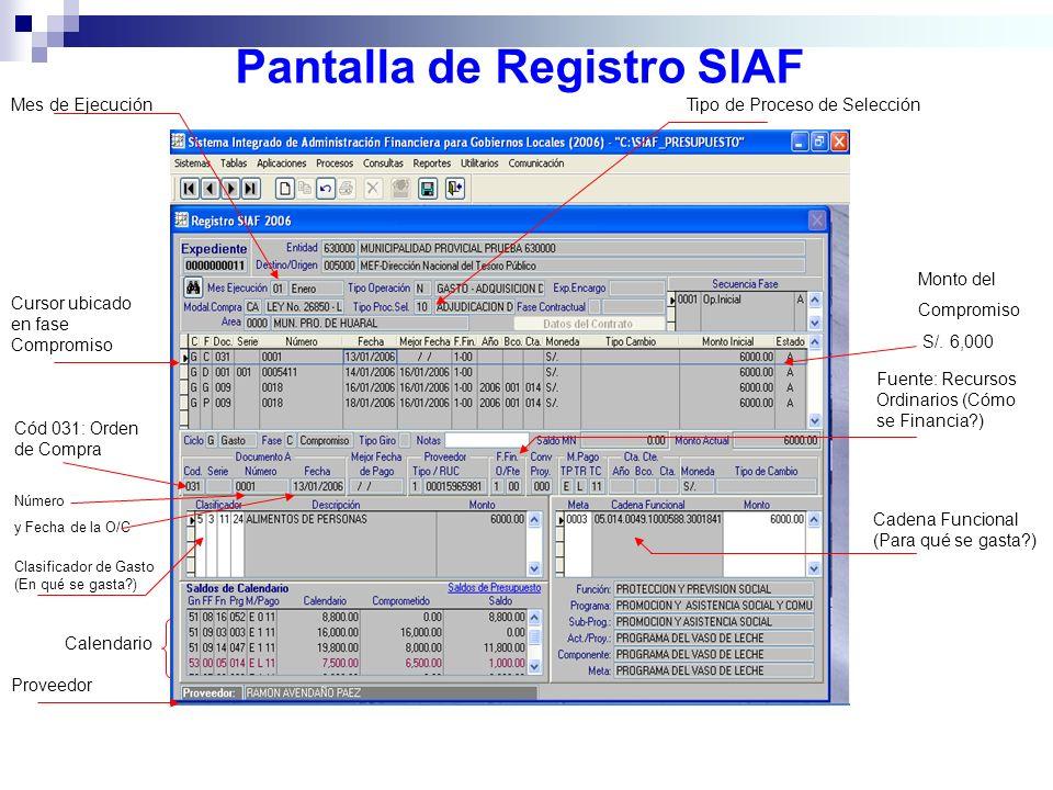 Pantalla de Registro SIAF Tipo de Proceso de Selección Monto del Compromiso S/. 6,000 Fuente: Recursos Ordinarios (Cómo se Financia?) Cadena Funcional