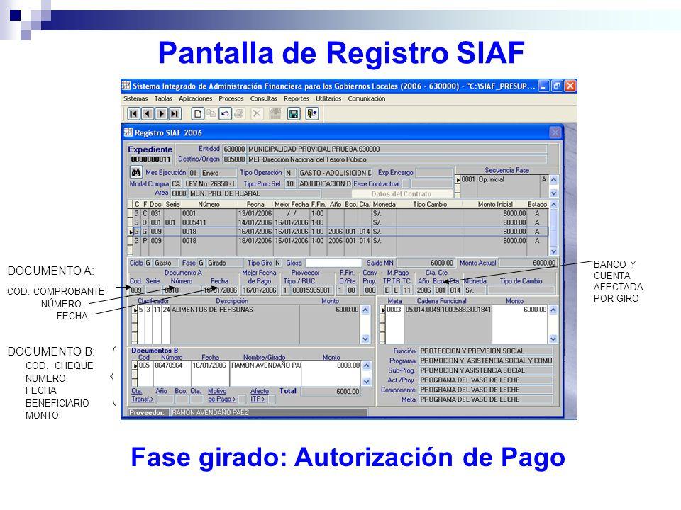 Pantalla de Registro SIAF Fase girado: Autorización de Pago DOCUMENTO A: COD. COMPROBANTE NÚMERO FECHA DOCUMENTO B: COD. CHEQUE NUMERO FECHA BENEFICIA