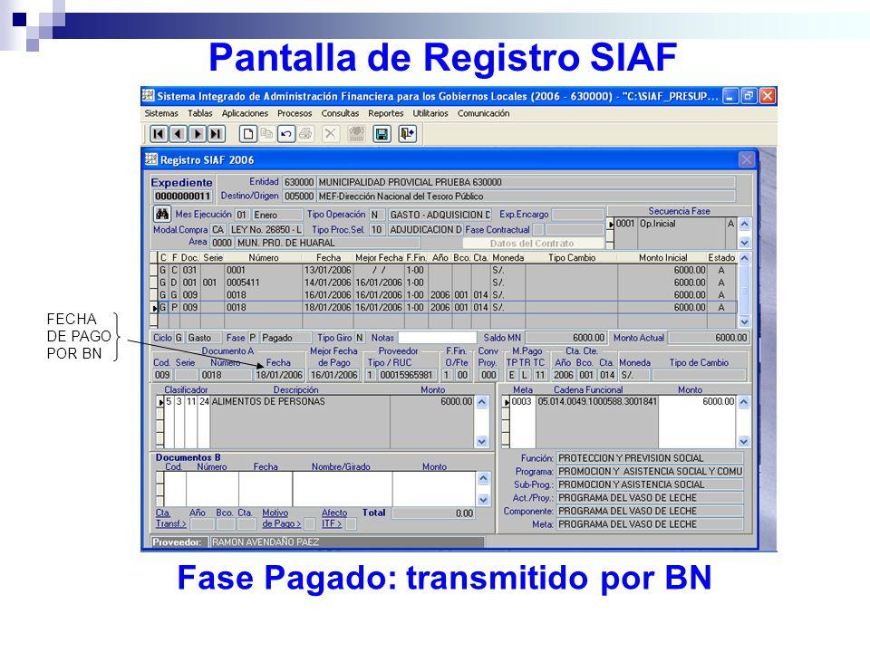 Pantalla de Registro SIAF Fase Pagado: transmitido por BN FECHA DE PAGO POR BN