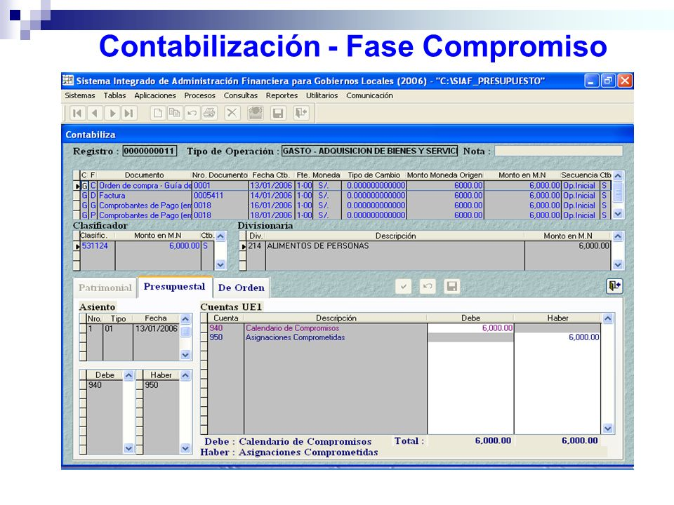Contabilización - Fase Compromiso