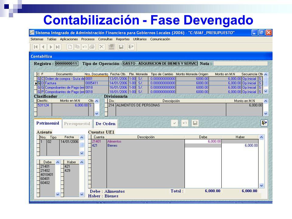Contabilización - Fase Devengado