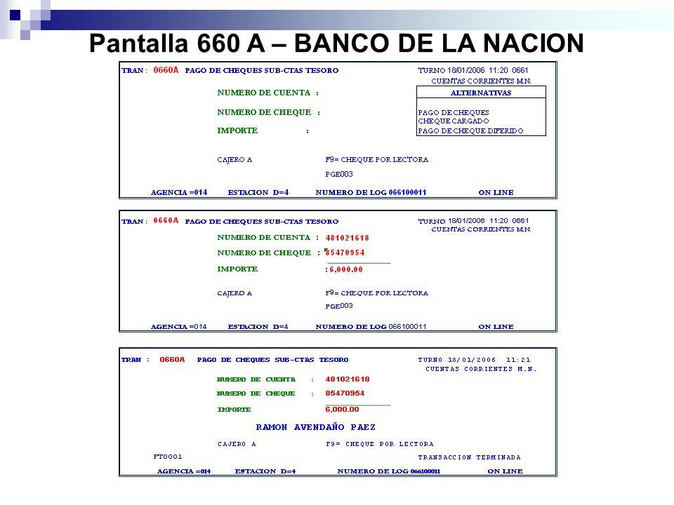 Pantalla 660 A – BANCO DE LA NACION