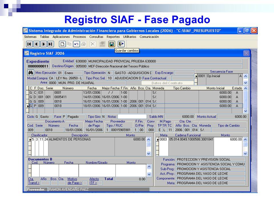 Registro SIAF - Fase Pagado