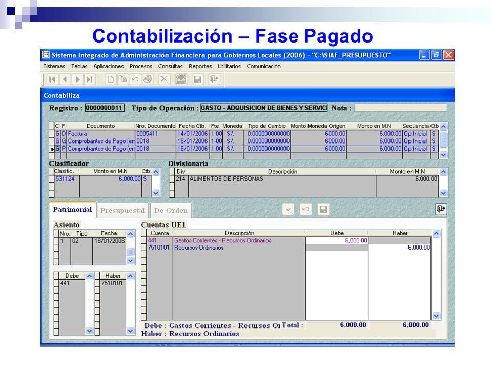 Contabilización – Fase Pagado