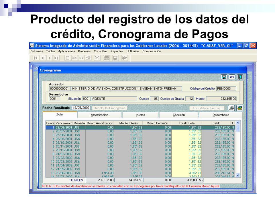 Producto del registro de los datos del crédito, Cronograma de Pagos
