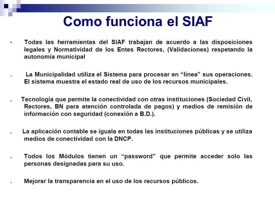 Como funciona el SIAF Todas las herramientas del SIAF trabajan de acuerdo a las disposiciones legales y Normatividad de los Entes Rectores, (Validacio