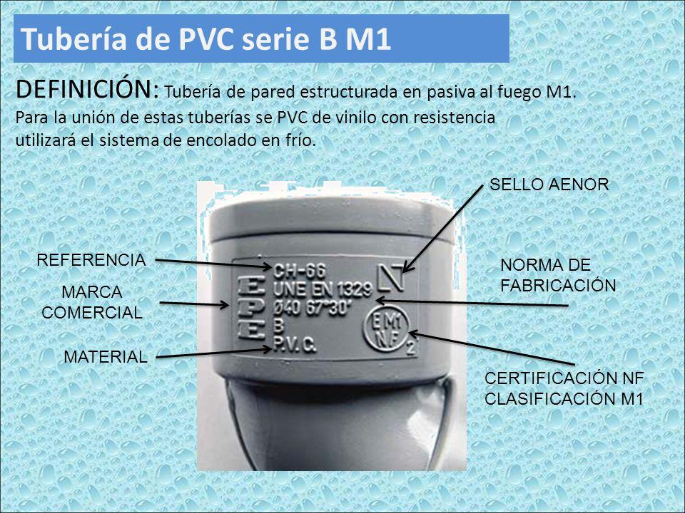 Tubería de PVC serie B M1 DEFINICIÓN: Tubería de pared estructurada en pasiva al fuego M1. Para la unión de estas tuberías se PVC de vinilo con resist