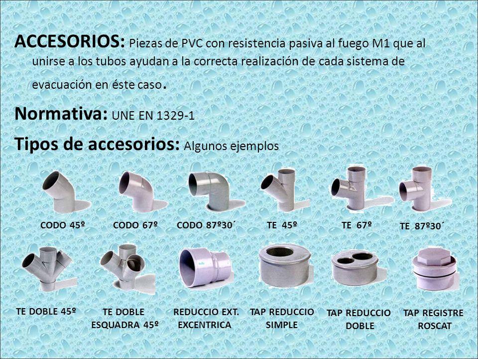 ACCESORIOS: Piezas de PVC con resistencia pasiva al fuego M1 que al unirse a los tubos ayudan a la correcta realización de cada sistema de evacuación