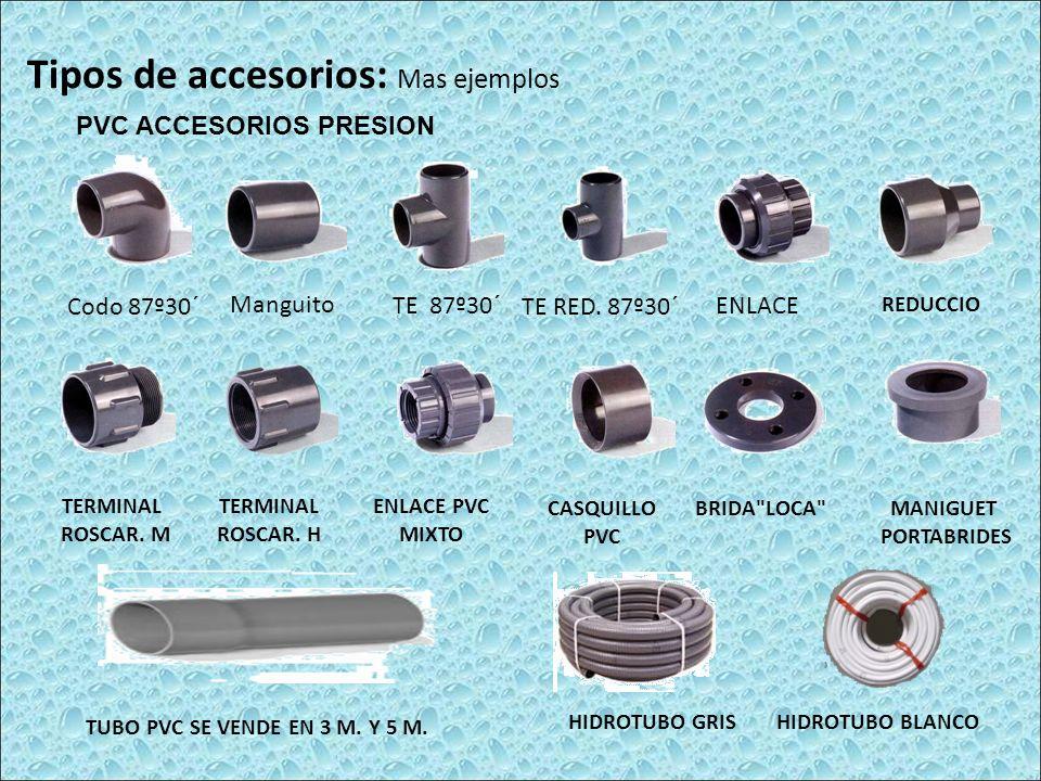 Tipos de accesorios: Mas ejemplos PVC ACCESORIOS PRESION Codo 87º30´ ManguitoTE 87º30´ TE RED. 87º30´ENLACE REDUCCIO TERMINAL ROSCAR. M TERMINAL ROSCA