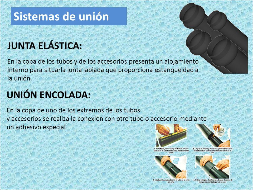 Sistemas de unión JUNTA ELÁSTICA: En la copa de los tubos y de los accesorios presenta un alojamiento interno para situarla junta labiada que proporciona estanqueidad a la unión..