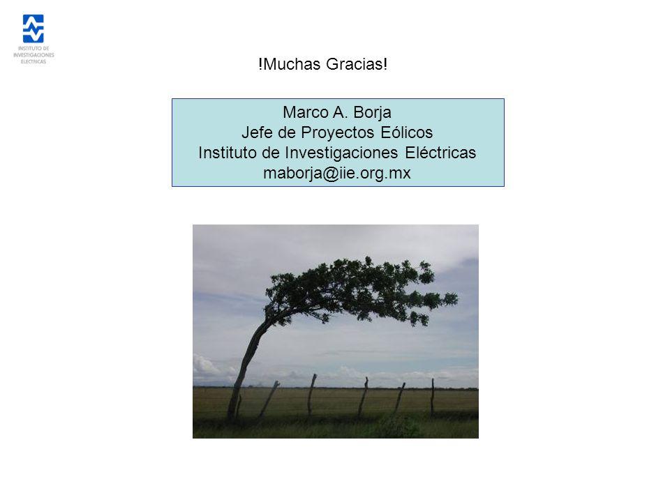 !Muchas Gracias! Marco A. Borja Jefe de Proyectos Eólicos Instituto de Investigaciones Eléctricas maborja@iie.org.mx