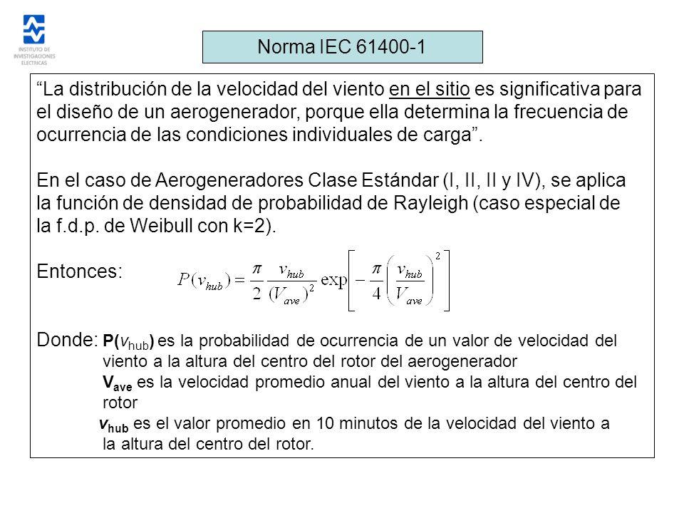 Norma IEC 61400-1 La distribución de la velocidad del viento en el sitio es significativa para el diseño de un aerogenerador, porque ella determina la