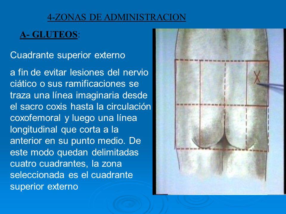 4-ZONAS DE ADMINISTRACION A- GLUTEOS: Cuadrante superior externo a fin de evitar lesiones del nervio ciático o sus ramificaciones se traza una línea i