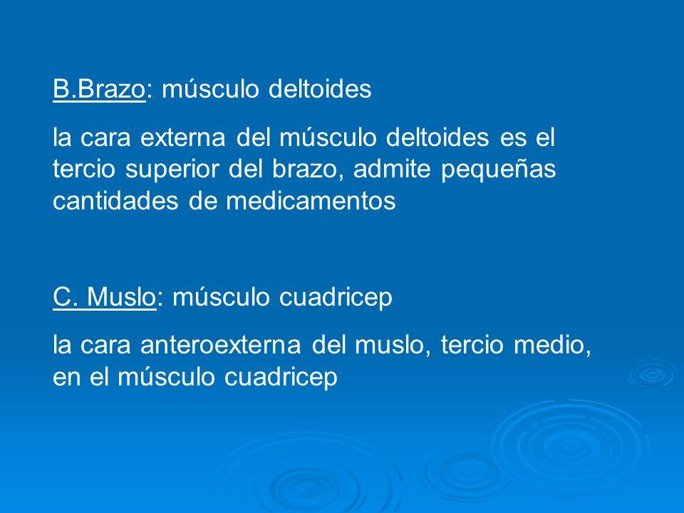 B.Brazo: músculo deltoides la cara externa del músculo deltoides es el tercio superior del brazo, admite pequeñas cantidades de medicamentos C.