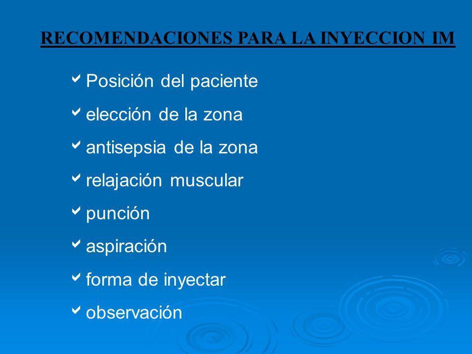 RECOMENDACIONES PARA LA INYECCION IM Posición del paciente elección de la zona antisepsia de la zona relajación muscular punción aspiración forma de inyectar observación
