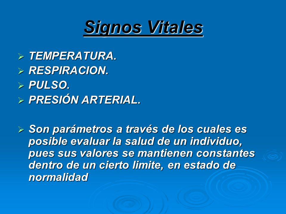 Signos Vitales TEMPERATURA. TEMPERATURA. RESPIRACION. RESPIRACION. PULSO. PULSO. PRESIÓN ARTERIAL. PRESIÓN ARTERIAL. Son parámetros a través de los cu