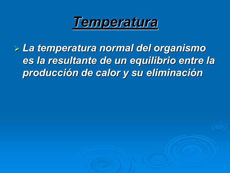 Temperatura La temperatura normal del organismo es la resultante de un equilibrio entre la producción de calor y su eliminación La temperatura normal
