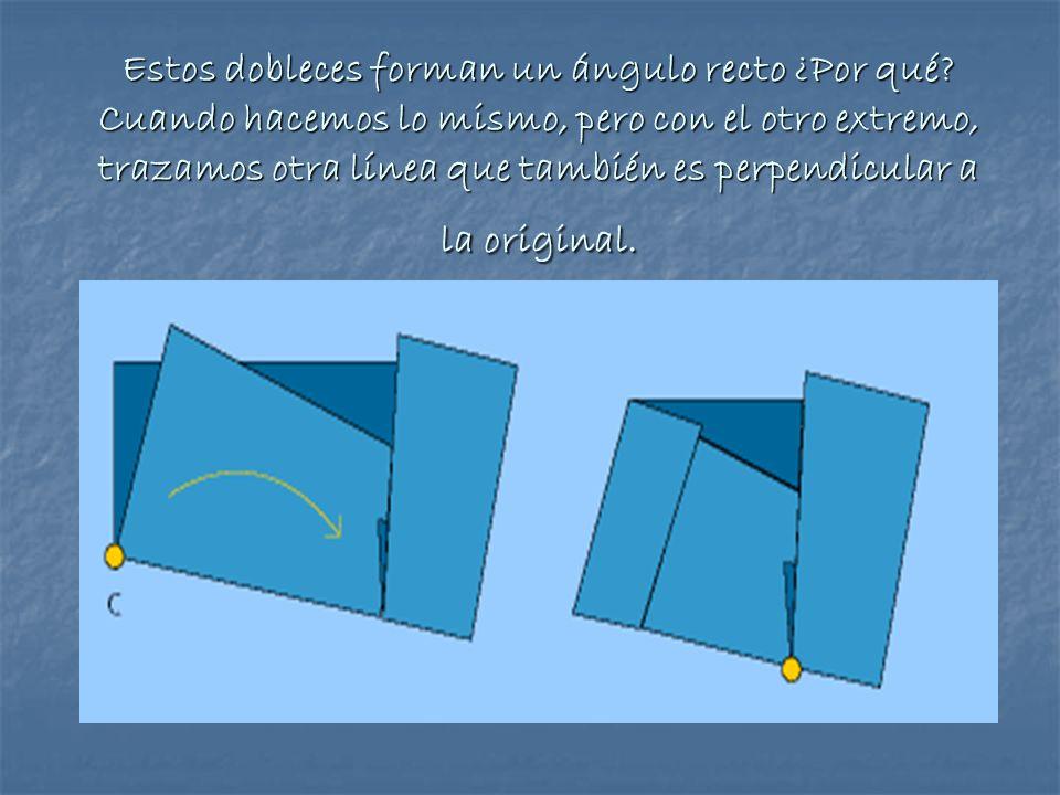 Estos dobleces forman un ángulo recto ¿Por qué? Cuando hacemos lo mismo, pero con el otro extremo, trazamos otra línea que también es perpendicular a