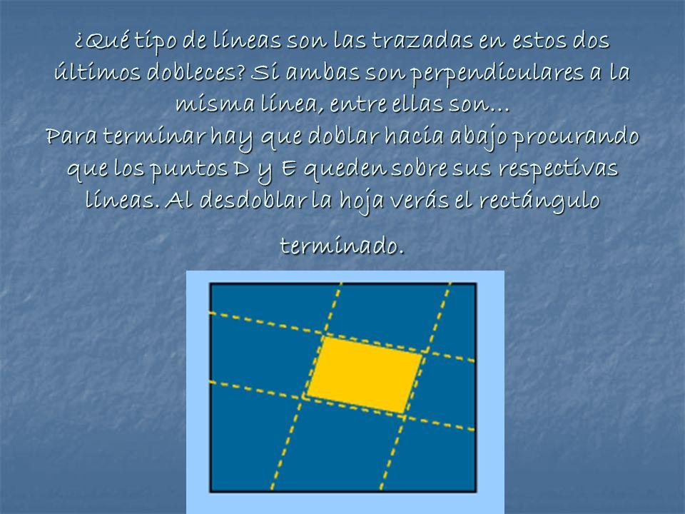 ¿Qué tipo de líneas son las trazadas en estos dos últimos dobleces? Si ambas son perpendiculares a la misma línea, entre ellas son... Para terminar ha