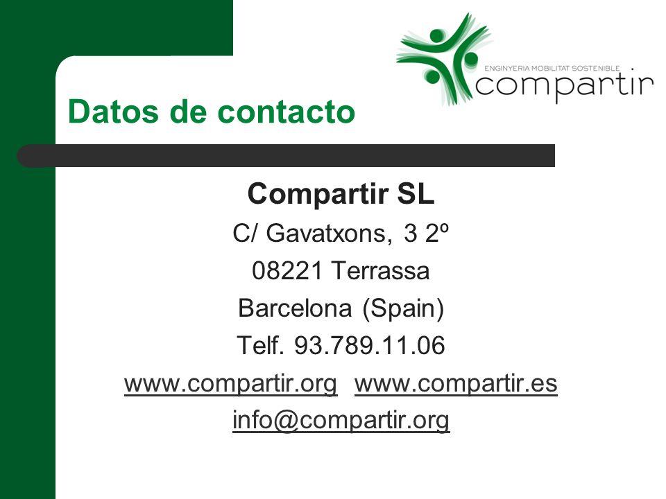 Datos de contacto Compartir SL C/ Gavatxons, 3 2º 08221 Terrassa Barcelona (Spain) Telf.
