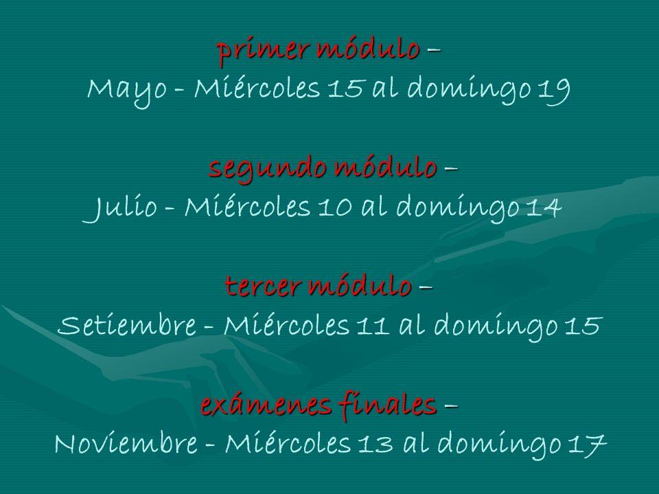 primer módulo – segundo módulo – tercer módulo – exámenes finales – primer módulo – Mayo - Miércoles 15 al domingo 19 segundo módulo – Julio - Miércol
